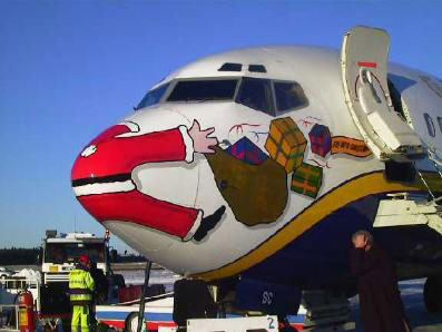 Santa crashed into plane